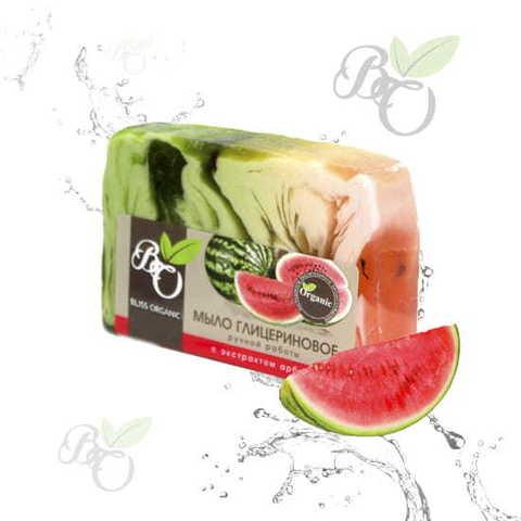 Глицериновое мыло ручной работы «Арбуз», Bliss organic 100 гр