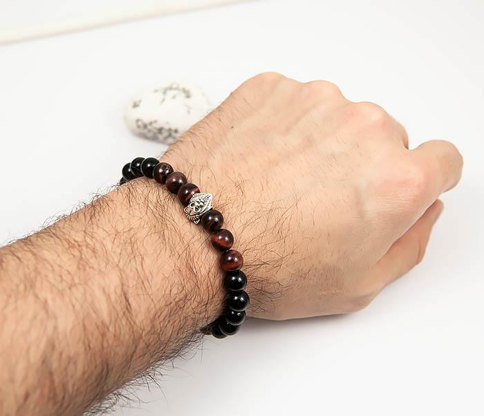 BS790 Мужской браслет из камня со вставкой - львом (19,5 см) фото 05
