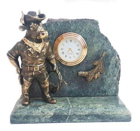 Часы «Бык-Ковбой» - Символ 2021 года. Бронза