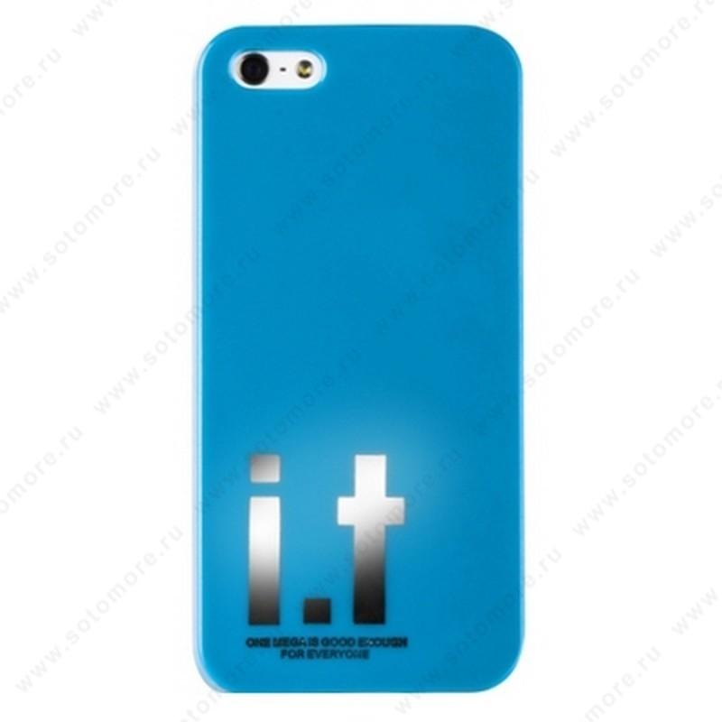 Накладка i.t с водонепроницаемым мешком для iPhone SE/ 5s/ 5C/ 5 с большими буквами голубая
