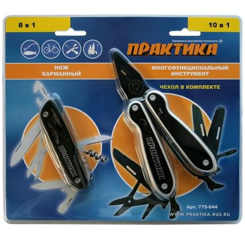 Мультитул ПРАКТИКА набор 2 шт, плоскогубцы 10 в1  + нож 8 в 1 складной, черные, в дисплее  (775-044)