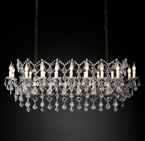 Подвесной светильник копия 19th C. Rococo Iron & Clear Crystal Rectangular Chandelier 51