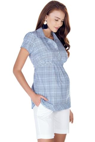 Рубашка для беременных 01395 голубой