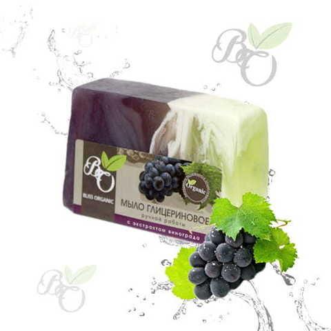 Глицериновое мыло ручной работы «Виноград», Bliss organic 100 гр