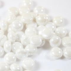Бусина Candy Кабошон с 2 отверстиями, 8 мм, белая с блеском