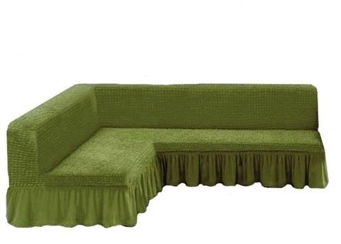 Чехол на угловой диван без подлокотников, олива