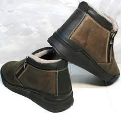 Молодежные зимние ботинки мужские Rifellini Rovigo 046 Brown Black
