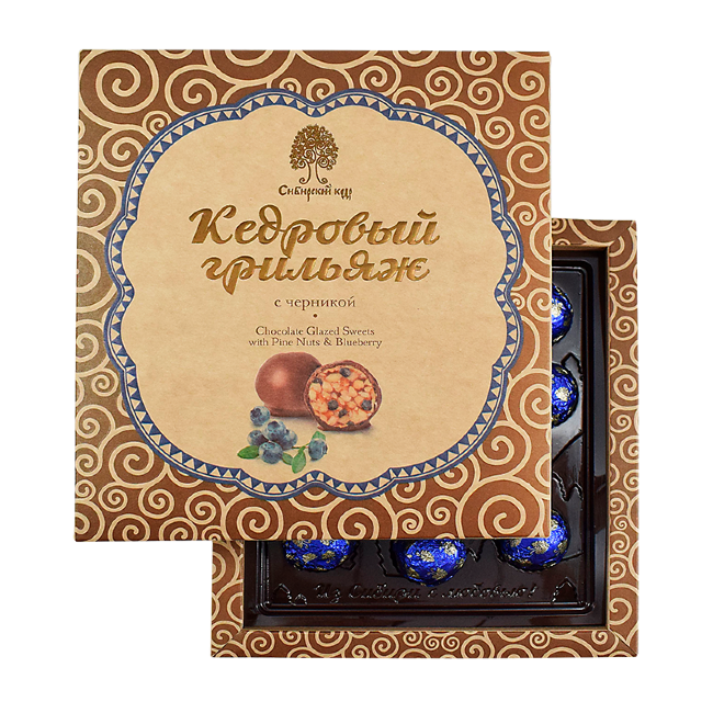 Конфеты Грильяж кедровый с черникой в шоколадной глазури