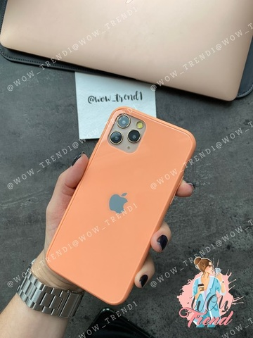 Чехол iPhone 11 Glass Pastel color Logo /peach/