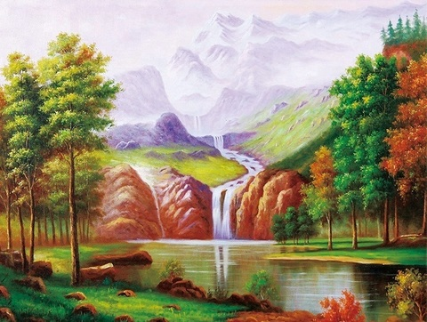 Алмазная Мозаика + Багет 30x40 Водопад у гор (арт. DA-3872)