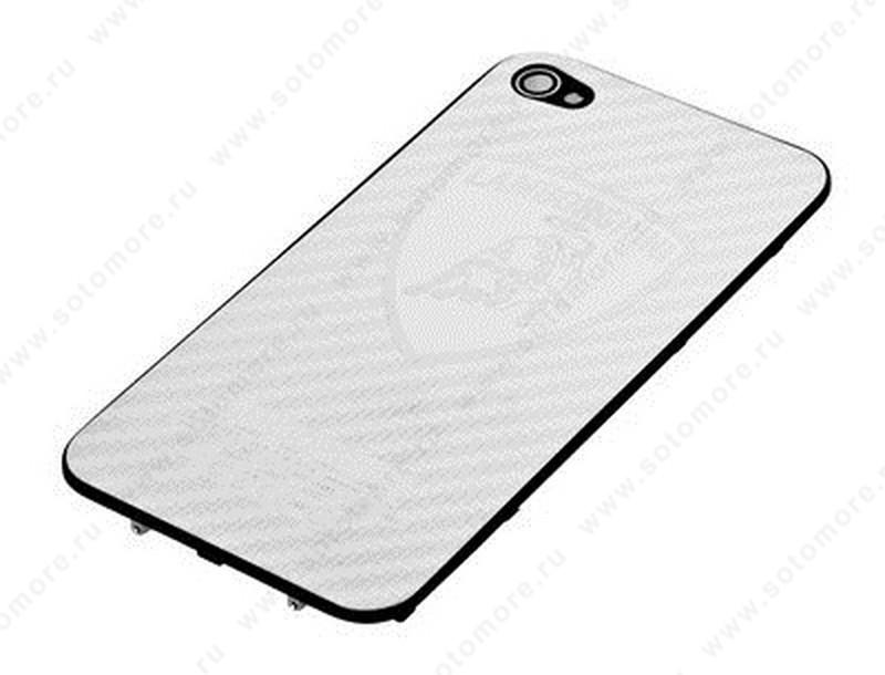 Задняя часть металлическая для iPhone 4 серебряная LAMBORGHINI под карбон