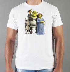 Футболка с принтом мультфильма Шрек (Shrek)  белая 001