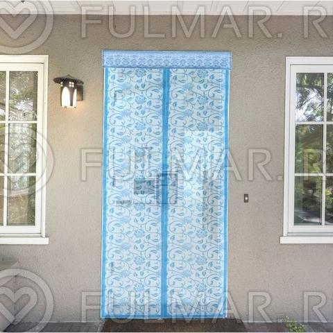 Москитная сетка на балконную и входную дверь на магнитной ленте с Цветочным узором 80х210 см Голубая