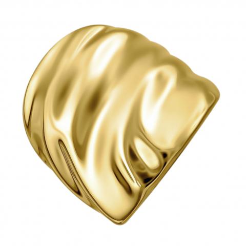 Е12К05211125ПЖ-  Мятое кольцо из серебра в лимонной позолоте
