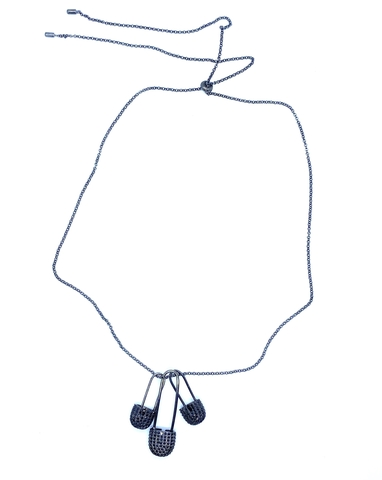 Колье из серебра в черном родии с тремя подвесками булавками