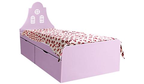 Детская кровать сиреневого цвета