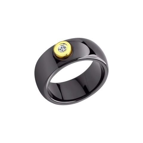 Керамическое кольцо со вставкой из золота с бриллиантом