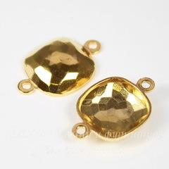 4483/J Сеттинг - основа - коннектор Сваровски (1-1) для страза Cushion 10 мм (цвет - золото)
