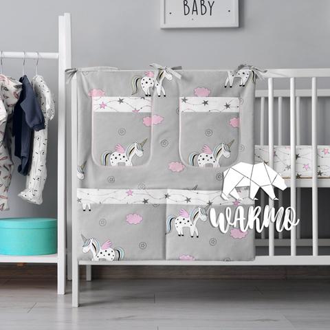органайзер для ліжечка з сірими єдинорогами фото