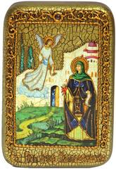 Инкрустированная икона Святая преподобная Ирина Каппадокийская (Хрисоволанта) 15х10см на натуральном дереве в подарочной коробке