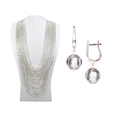 Комплект бисерный серебристый (серьги-бусины и колье) №4