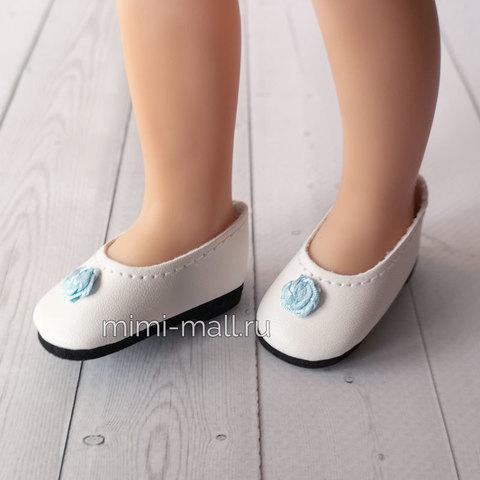 Туфли для куклы Paola Reina 32 см белые с голубым цветком 63203