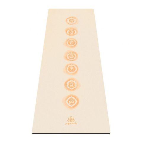 Коврик для йоги Чакры Бежевый 173*61*0,3 см из микрофибры и каучука