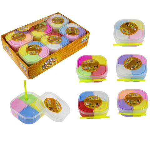 Слайм тайм Баттер слайм, 4 цвета в баночке, с трубочкой, 8,5см, 1кор*10бл*12шт