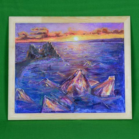 Картина на бересте Восход на льду