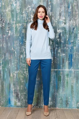 Фото прямые бирюзовые брюки на молнии с вертикальными стрелками и карманами - Брюки А471-574 (1)