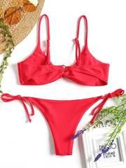 купальник бикини розовый с лямками твист Pink Twist 2