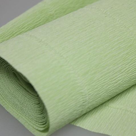 Бумага гофрированная, цвет 566 светло-салатовый, 180г, 50х250 см, Cartotecnica Rossi (Италия)
