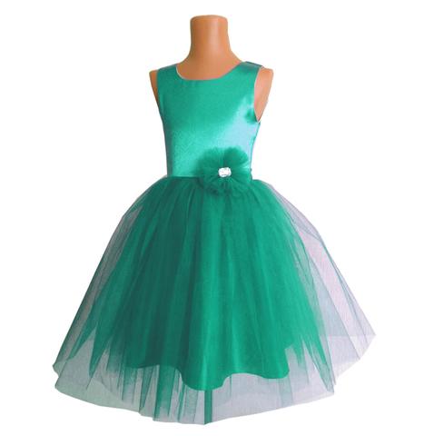 Платье пышное изумрудное для малышек