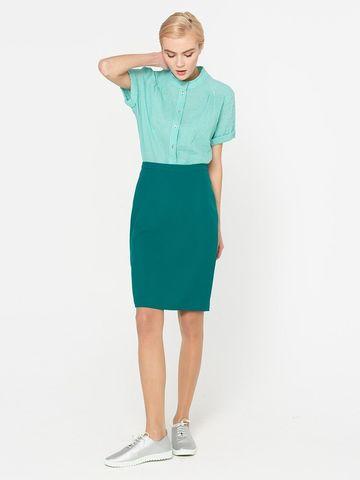 Фото зеленая обтягивающая юбка прямого силуэта на молнии - Юбка Б027а-509 (1)
