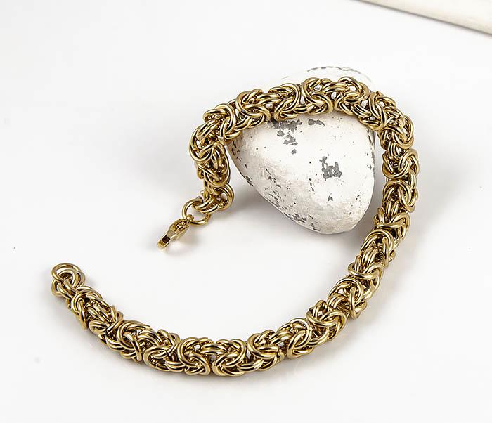BM524-3 Мужской браслет из стали золотистого цвета фото 04