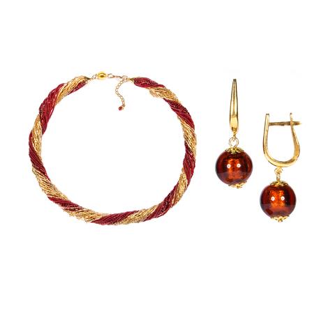 Комплект украшений золотисто-красный №2 (серьги-бусины, ожерелье из бисера 24 нити)