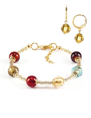 Комплект Carnavale Oro (браслет и серьги Piccolo золотистые)