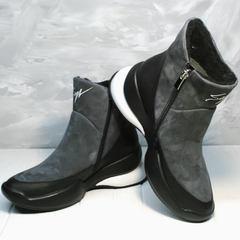 Сникерсы ботинки кожаные женские зимние Jina 7195 Leather Black-Gray