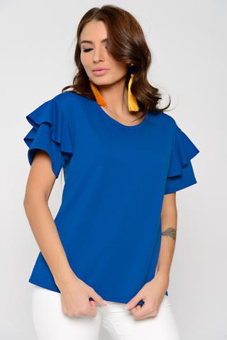<p>Оригинальная блуза модного кроя. Спущенное плечо с воланом. Рукав короткий. (Длины: 44-48=63см; 50=64см)</p>
