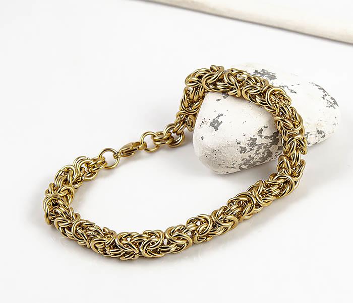 BM524-3 Мужской браслет из стали золотистого цвета фото 07
