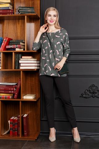 Фото модные темно-коричневые облегающие брюки с застежкой на молнии - Брюки А473-516 (1)