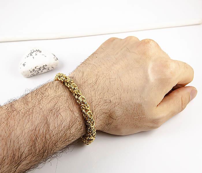 BM524-3 Мужской браслет из стали золотистого цвета фото 08