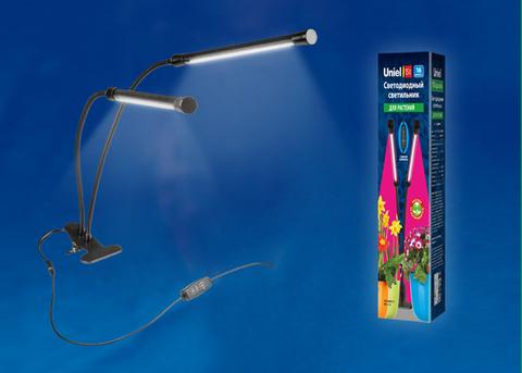 ULT-P33-15W/SPSB/TM IP40 BLACK Светильник для растений светодиодный с таймером, на прищепке. Спектр для рассады и цветения. TM Uniel
