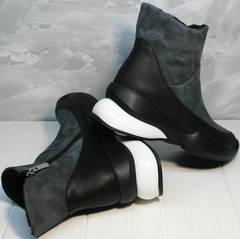 Купить женские кожаные зимние ботинки без шнурков Jina 7195 Leather Black-Gray