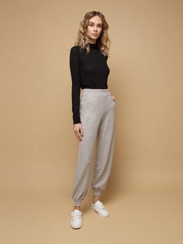 Женские брюки светло-серого цвета из шерсти и кашемира - фото 2
