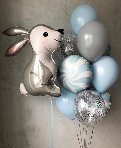 Фонтан из воздушных шаров Зайчонок