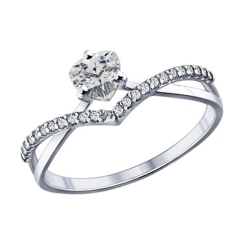 94011750- Кольцо из серебра с фианитами