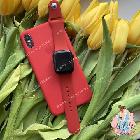 Ремешок Apple watch 42/44mm Sport Band /camellia white/ винный