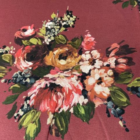 Ткань  трикотаж джерси  цветы на бордовом 3183