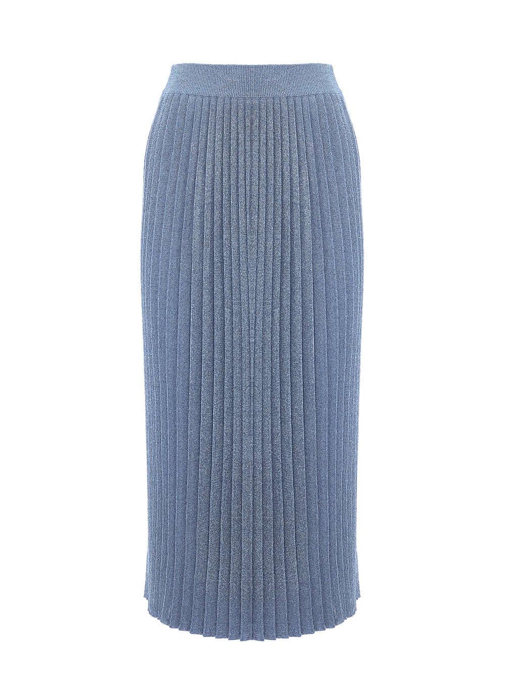 Женская юбка денимного цвета из вискозы - фото 1